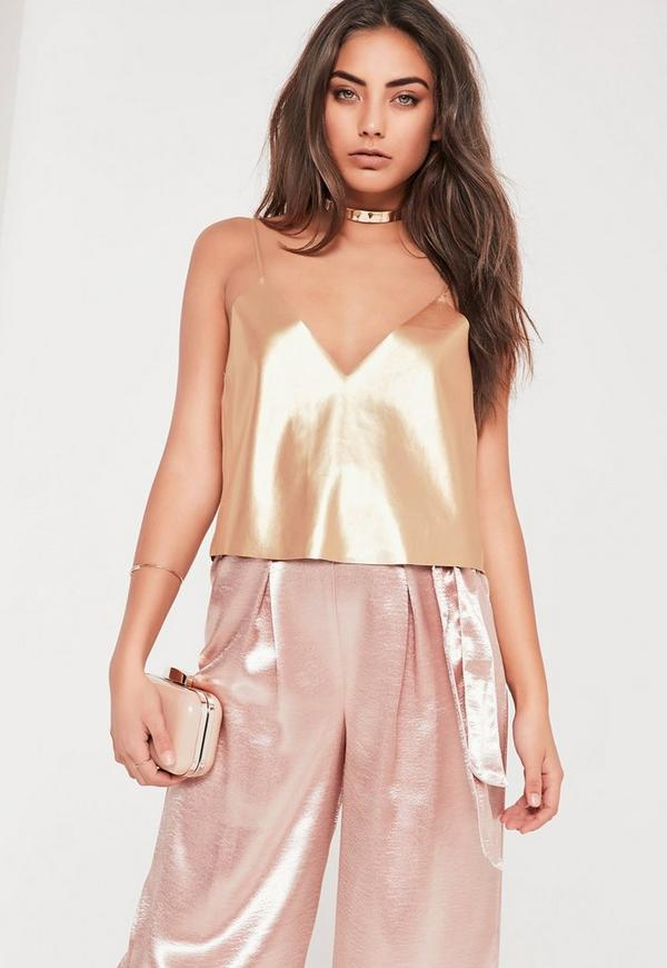 Gold Coated Metallic Cami Crop Top