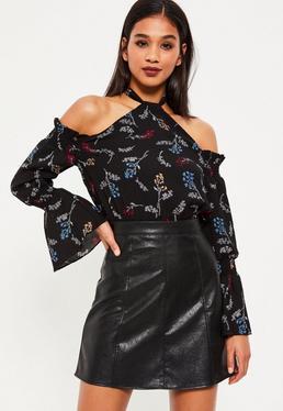 Black Floral Print Halter Neck Bardot Crop Top