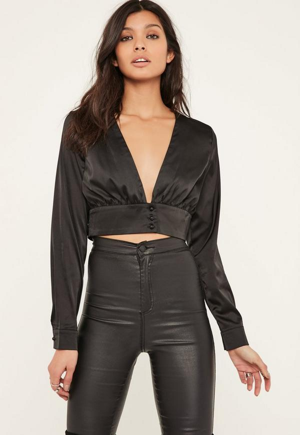 Black Button Front Satin Cropped Blouse