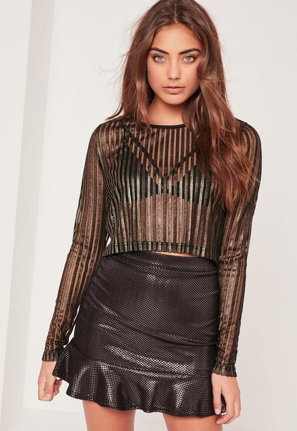 Metallic Sheer Stripe Long Sleeve Crop Top Black