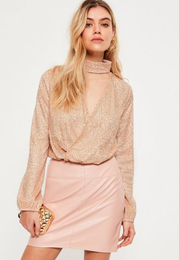 Gold Glitter Choker Neck Long Sleeve Wrap Crop Top