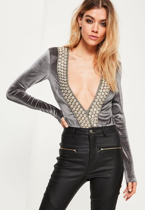 Grey Velvet Sequin Trim Bodysuit