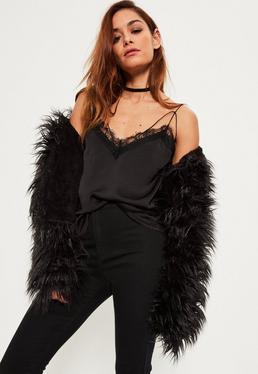 Black Satin Lace Trim Harness Cami Top