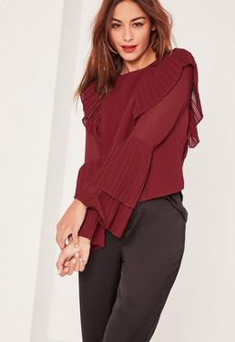 Caroline Receveur Burgundy Pleated Frill Blouse