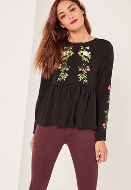 Black Embroidered Frill Hem Blouse