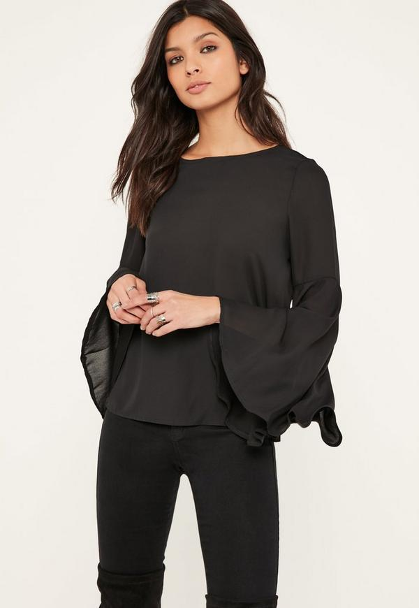 Black Flared Sleeve Chiffon Blouse