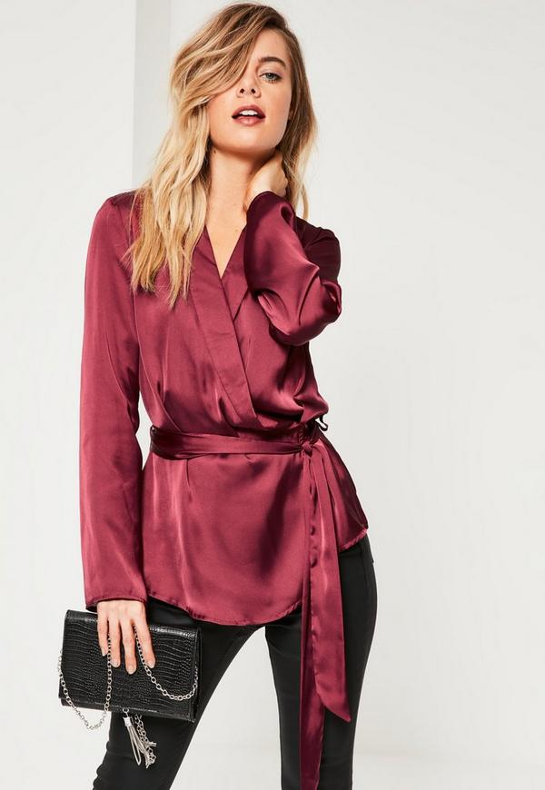 Burgundy Satin Wrap Belted Blouse