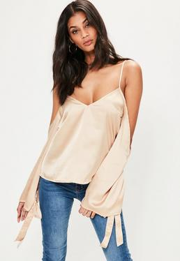 Nude Satin Cold Shoulder Tie Cuff Blouse