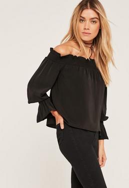 Black Shirred Cuff Bardot Blouse