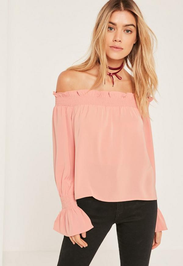 Pink Shirred Cuff Bardot Blouse