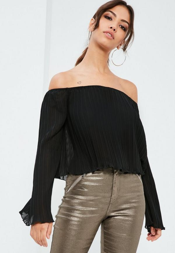 Black Pleated Flared Sleeve Bardot Top