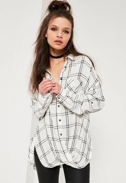 White Wrap Front Checked Shirt