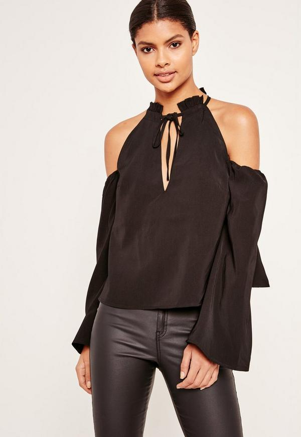 Frill Detail Tie Front Cold Shoulder Top Black