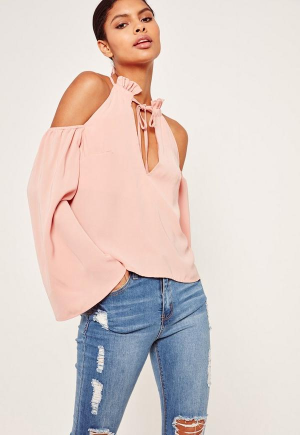 Frill Detail Tie Front Cold Shoulder Top Pink