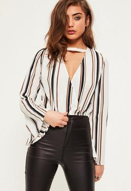 White Stripe Flare Sleeve Wrap Front Crop Blouse