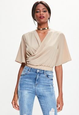 Nude Flare Sleeve Wrap Front Cropped Blouse