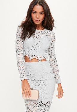 Grey Crochet Lace Long Sleeve Crop Top