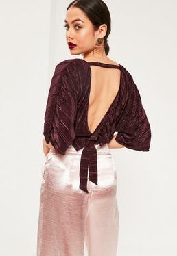 Purple Kimono Sleeve Pleated Crop Blouse