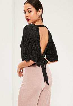 Black Kimono Sleeve Pleated Crop Blouse