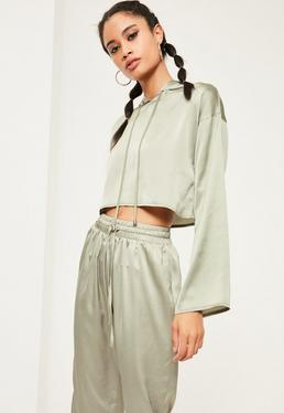 Green Cropped Satin Hoodie