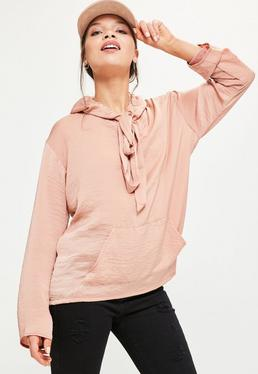 Pink Satin Hooded Blouse