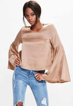 Gold Trumpet Sleeve Satin Blouse