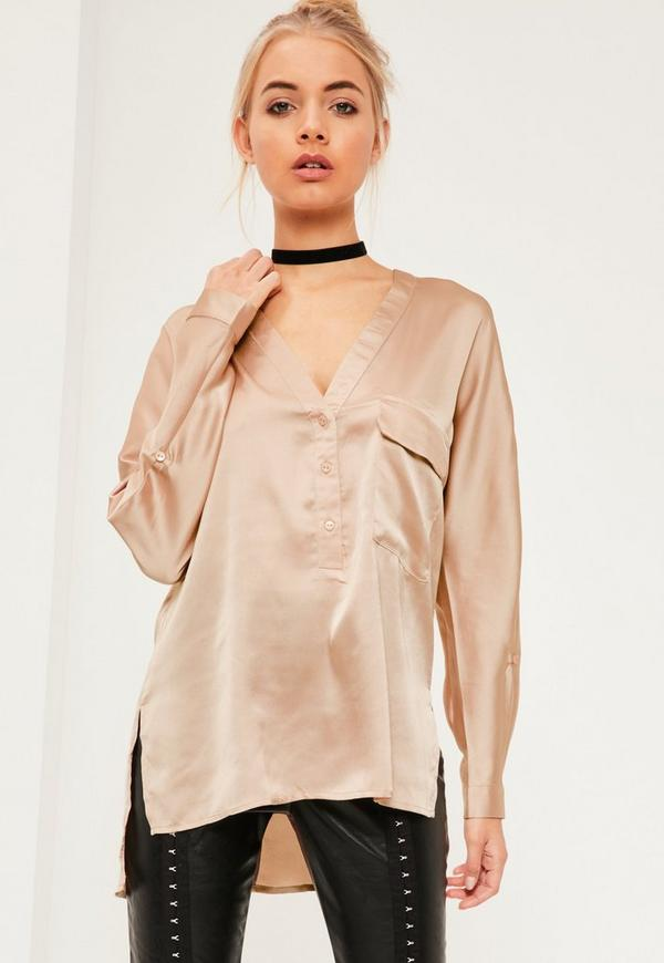 Nude Single Pocket Satin Blouse