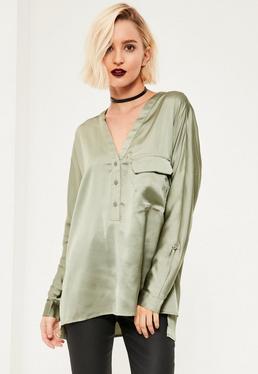 Green Single Pocket Satin Blouse