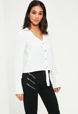 White Longline Placket Long Sleeve Blouse