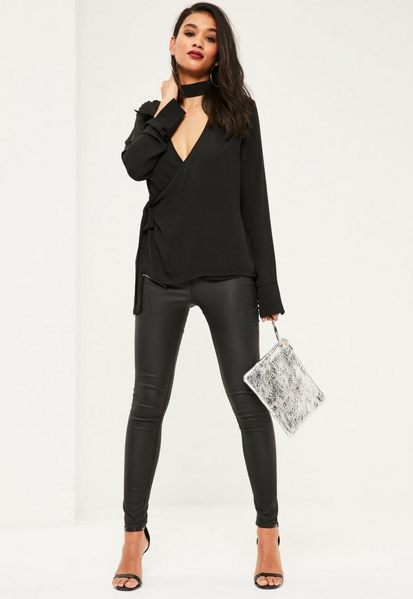 Black Tab Neck Tie Side Long Sleeve Blouse Missguided