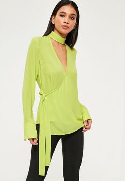 Green Choker Neck Tie Side Long Sleeve Blouse
