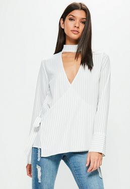 Striped Choker Neck Tie Side Long Sleeve Blouse