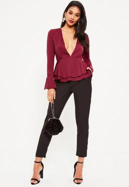 Purple Trumpet Sleeve Plunge Frill Satin Blouse