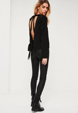 Black Tie Back Long Sleeve Blouse