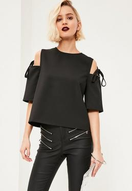 Black Tie Shoulder Blouse