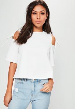 White Tie Shoulder Short Sleeve Blouse