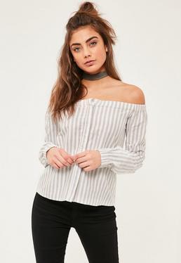 Schulterfreie Beige-gestreifte Bardot Langarm Bluse in Creme