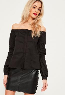 Langärmlige Bardot Bluse in Schwarz