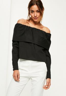Black Wrap Over Bardot Blouse