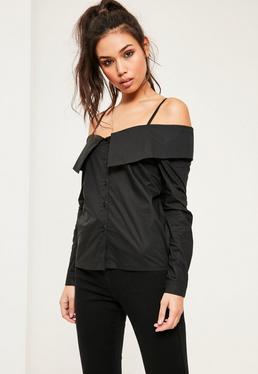 Czarna koszula bardot z długimi rękawami