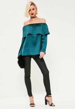Blue Long Sleeve Satin Bardot Blouse