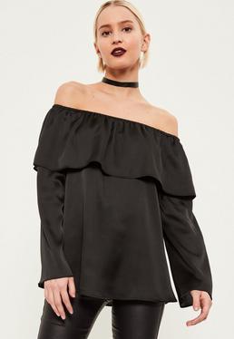 Black Long Sleeve Satin Bardot Blouse