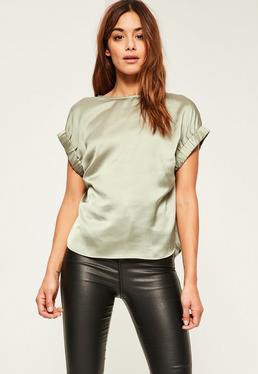 Green Satin Elastic Cuff T-shirt