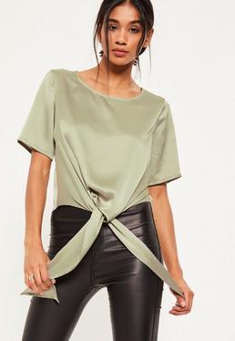 Green Satin Tie Hem T-Shirt
