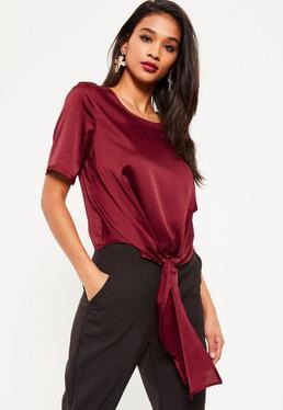 Purple Satin Tie Hem T-Shirt