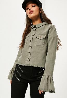 Jeansowa kurtka z szerokimi rękawami w kolorze khaki
