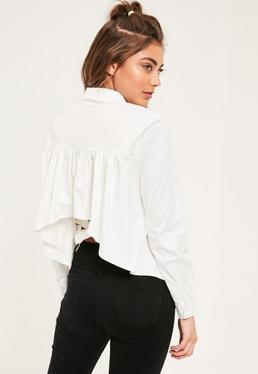 White Tie Back Collared Shirt