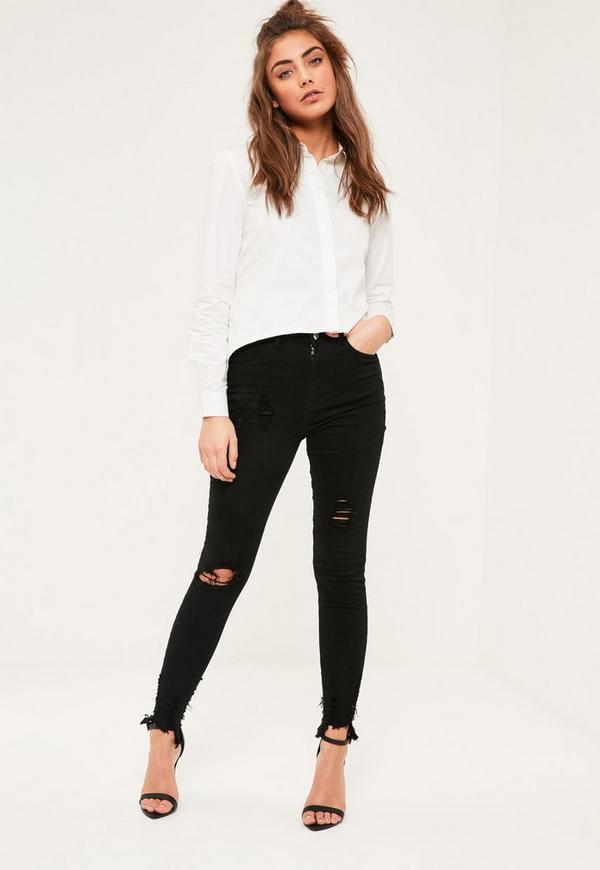 White Tie Back Collared Shirt Missguided