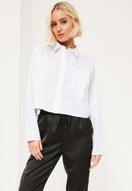 White Crop One Pocket Shirt