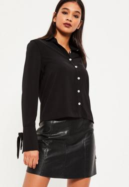 Black Eyelet Cuff Shirt